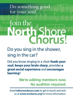 Recruitment Ad for the North Shore Chorus, October 2014.