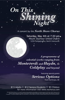 Concert poster for the North Shore Chorus, spring 2013.